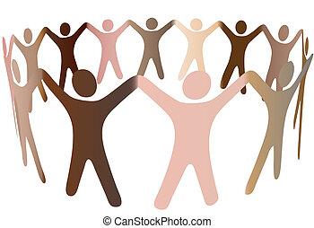 piel humana, tonos, mezcla, en, anillo, de, diverso, gente