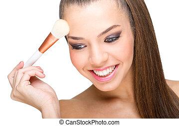 piel perfecta, maquillaje, modelo