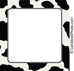piel, vaca, textura, resumen, vector, marco