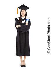 piena lunghezza, bello, giovane, graduazione, donna stando piedi, con, isolato, bianco, fondo