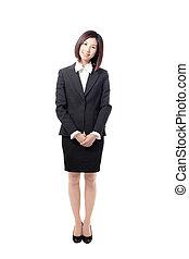 piena lunghezza, donna affari, sorriso, standing