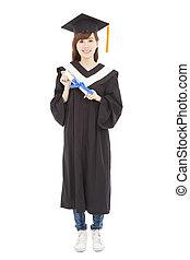 piena lunghezza, giovane, laureato, studente ragazza, con, diploma
