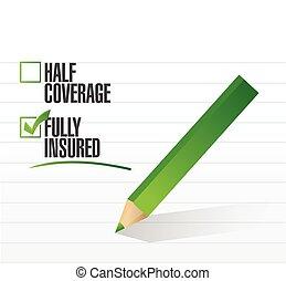 pienamente, assicurato, assegno, illustrazione, marchio