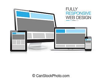 pienamente, sensibile, disegno web, elettro