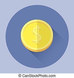 pieniądz, barwny, ikona