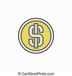 pieniądz, dolar, barwny, ikona