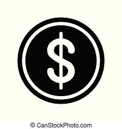 pieniądz, dolar, ikona