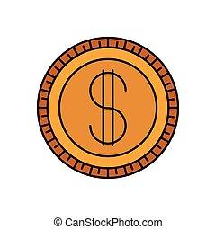 pieniądz, sylwetka, barwny, ikona