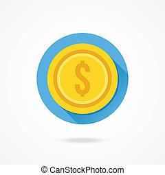 pieniądz, wektor, dolar, złoty, ikona