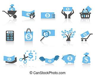 pieniądze, błękitny, seria, prosty, ikona
