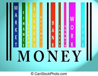 pieniądze, barcode, słowo, barwny