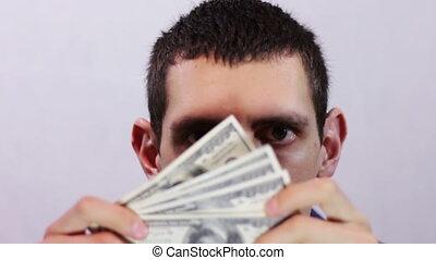 pieniądze., biznesmen, jego, szczęśliwy