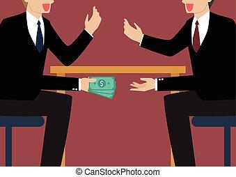 pieniądze, biznesmeni, chwilowy, pod, stół, dwa