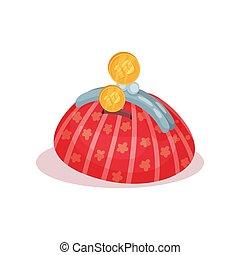 pieniądze boks, w, kształt, od, różowy, kobiety, s, kaletka., dekoracyjny, płaski, wektor, element, dla, handlowy, afisz, chorągiew, albo, lotnik