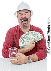 pieniądze, budowlaniec, śmiech, spędza urlop