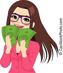 pieniądze, cieszący się, kobieta interesu