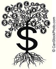 pieniądze, czarnoskóry, drzewo, waluta