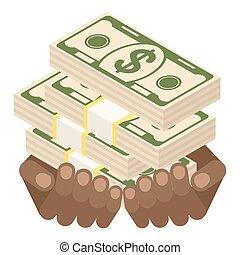 pieniądze, czarnoskóry, plik, siła robocza