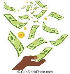 pieniądze, czarnoskóry, ręka
