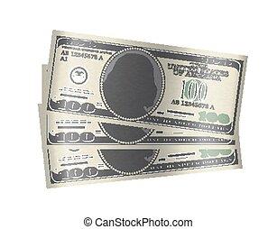 pieniądze, dolar, banknotes, tło, 100, biały