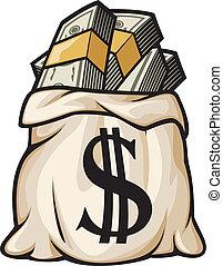 pieniądze, dolar, torba, znak
