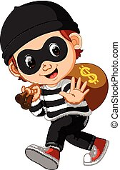 pieniądze, dolar, złodziej, znak, torba, transport, rysunek