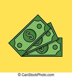 pieniądze, dolary, trzy, cienka lina, icon.