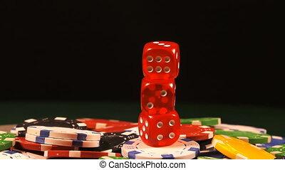 pieniądze, drzazgi, gra w kości, czerwony, hazard