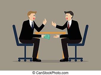pieniądze, dwa, biznesmeni, pod, stół, chwilowy