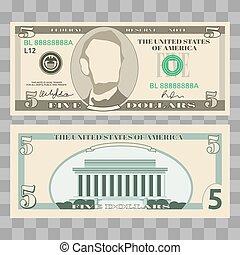 pieniądze, dzioby, dolar, na