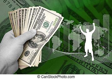 pieniądze, i, handlowy, powodzenie
