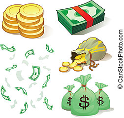 pieniądze, i, monety