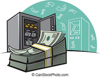 pieniądze, i, sejf