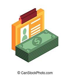 pieniądze, ikona, dzioby, bank notują