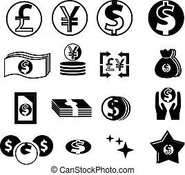 pieniądze, ikony, komplet