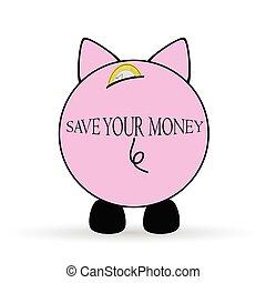 pieniądze, ilustracja, świnka, oprócz, twój, bank