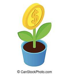 pieniądze, isometric, drzewo, ikona