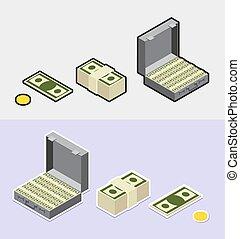 pieniądze, isometric, ikony, styl, wtykać