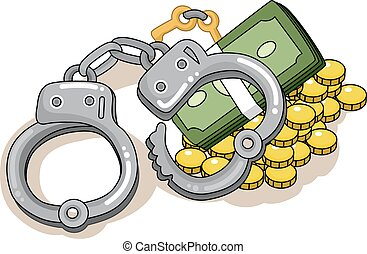 pieniądze, kajdany, zbrodnia, konflikt