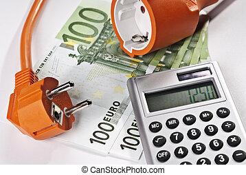 pieniądze, kalkulator, czop