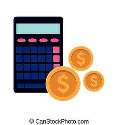 pieniądze, kalkulator, monety, ikona