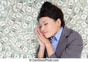 pieniądze, kobieta, łóżko, handlowy, spanie