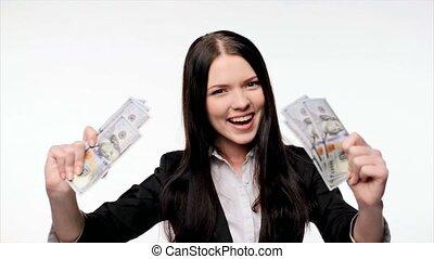 pieniądze, kobieta, dolar, na, handlowy