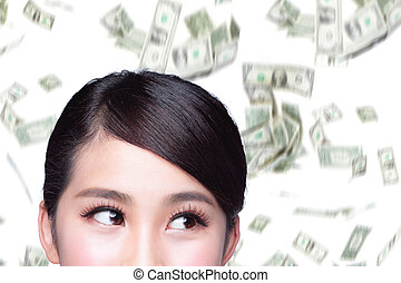 pieniądze, kobieta handlowa, deszcz
