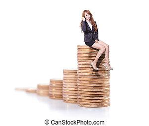pieniądze, kobieta handlowa, powodzenie, posiedzenie