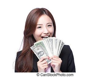 pieniądze, kobieta handlowa, szczęśliwy