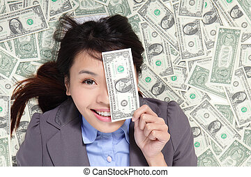 pieniądze, kobieta, leżący, łóżko, szczęśliwy