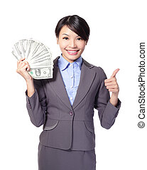 pieniądze, kobieta, podniecony, handlowy