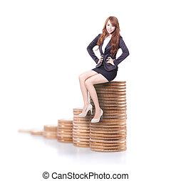 pieniądze, kobieta, schody, handlowy, posiedzenie