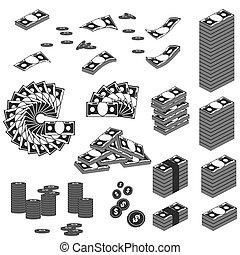 pieniądze, komplet, czarnoskóry, ikona